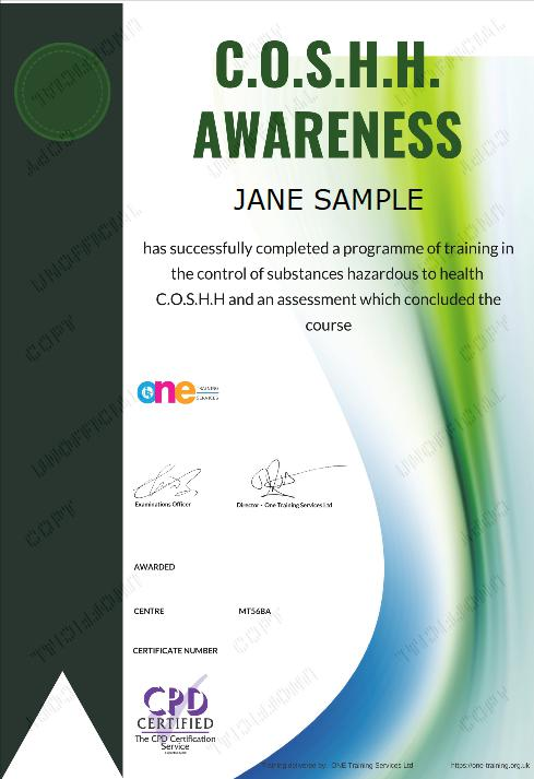 The Final Certificate Of The COSHH Awareness Course
