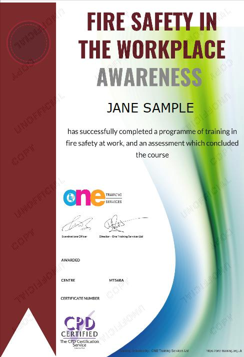 The Final Certificate Of The Fire Safety in the Workplace Awareness Course