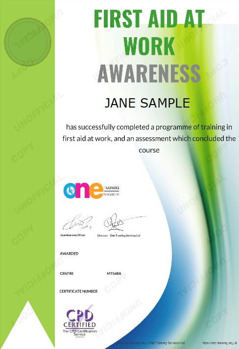 The Final Certificate Of The First Aid at Work Awareness Course