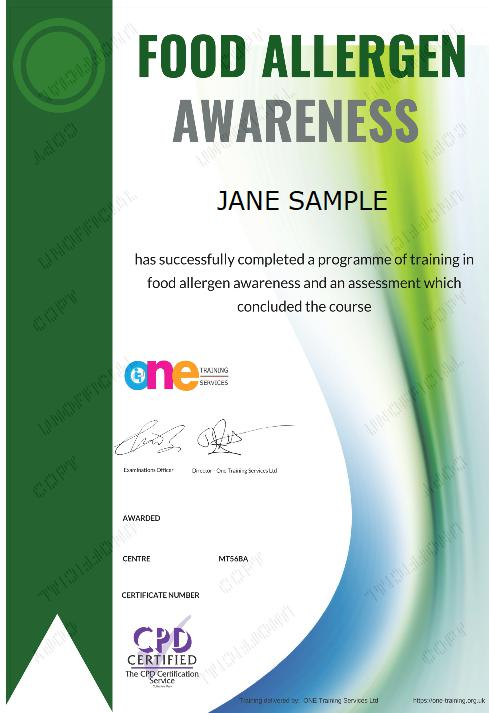 Food Allergen Awareness Course Certificate
