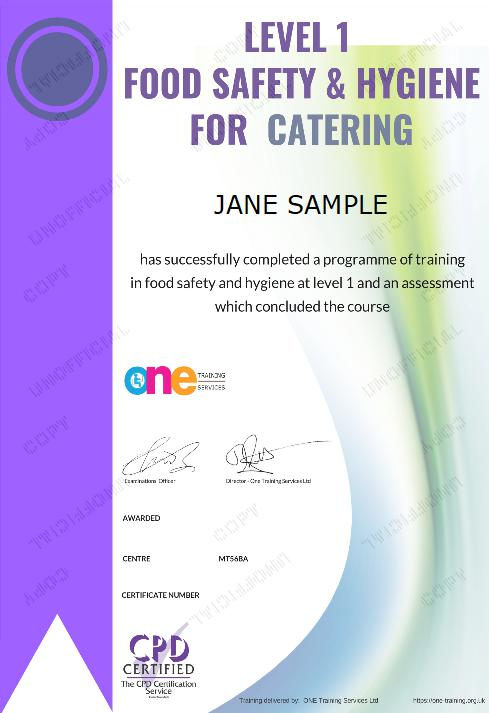 The Final Certificate Of The Level 1 Food Safety And Hygiene For Catering Course