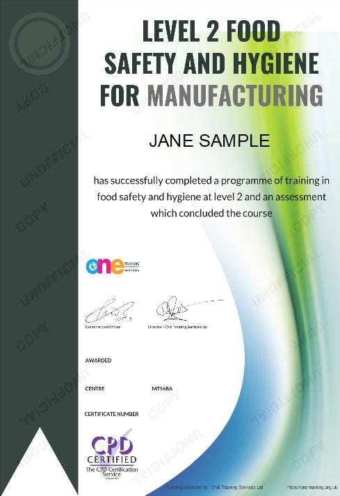 the level 2 food safety and hygiene for manufacturing course certificate