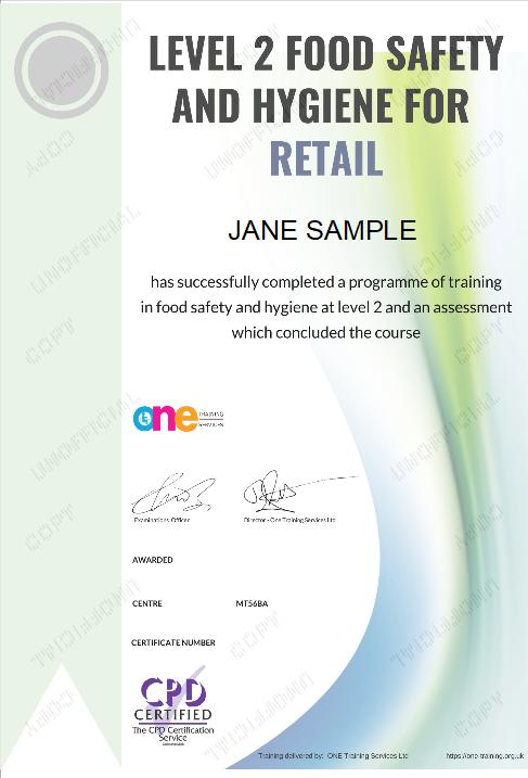 Level 2 Food Safety and Hygiene For Retail course certificate