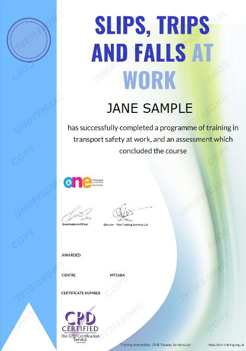 The Final Certificate Of The Slips Trips and Falls at Work Course